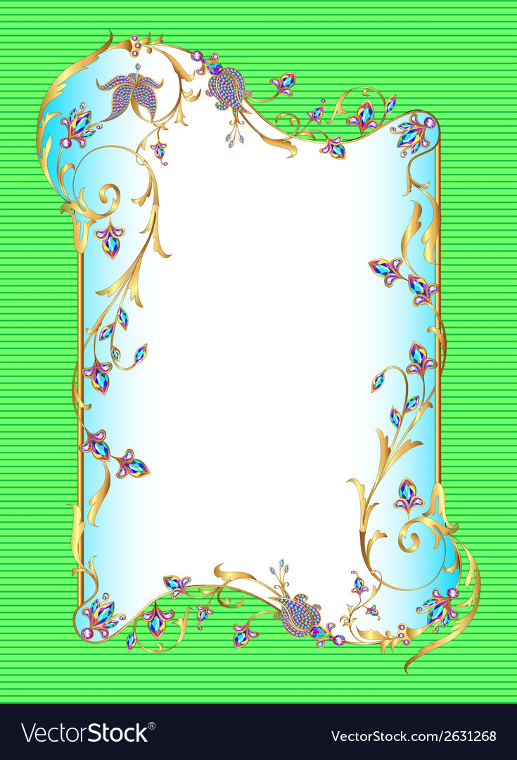 Bright green background floral frame vector | Price: 1 Credit (USD $1)