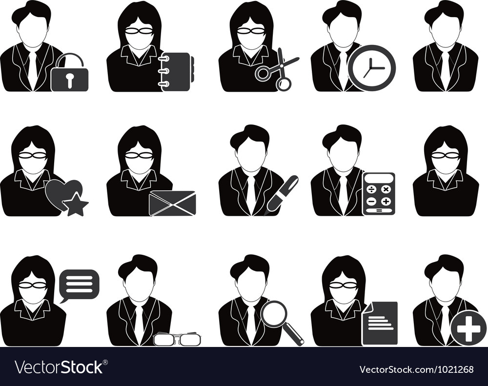 Business people with office tools icon vector | Price: 1 Credit (USD $1)