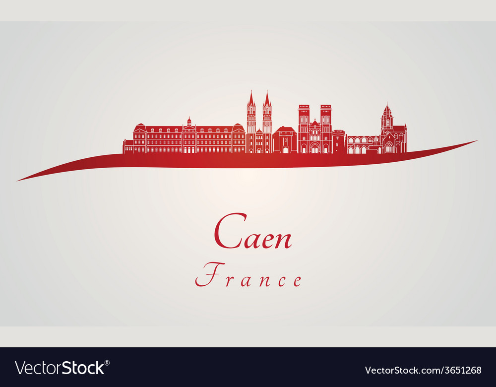 Caen skyline in red vector | Price: 1 Credit (USD $1)