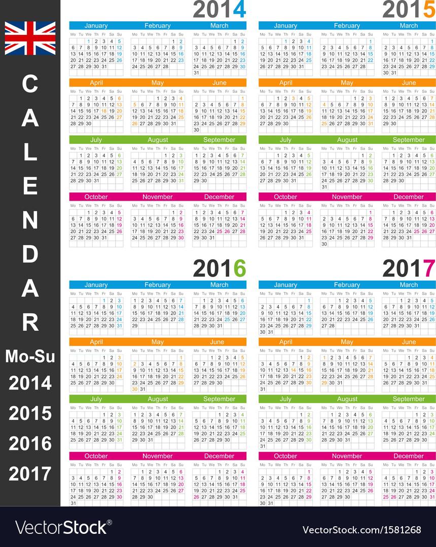 Calendar 2014-2017 vector | Price: 1 Credit (USD $1)