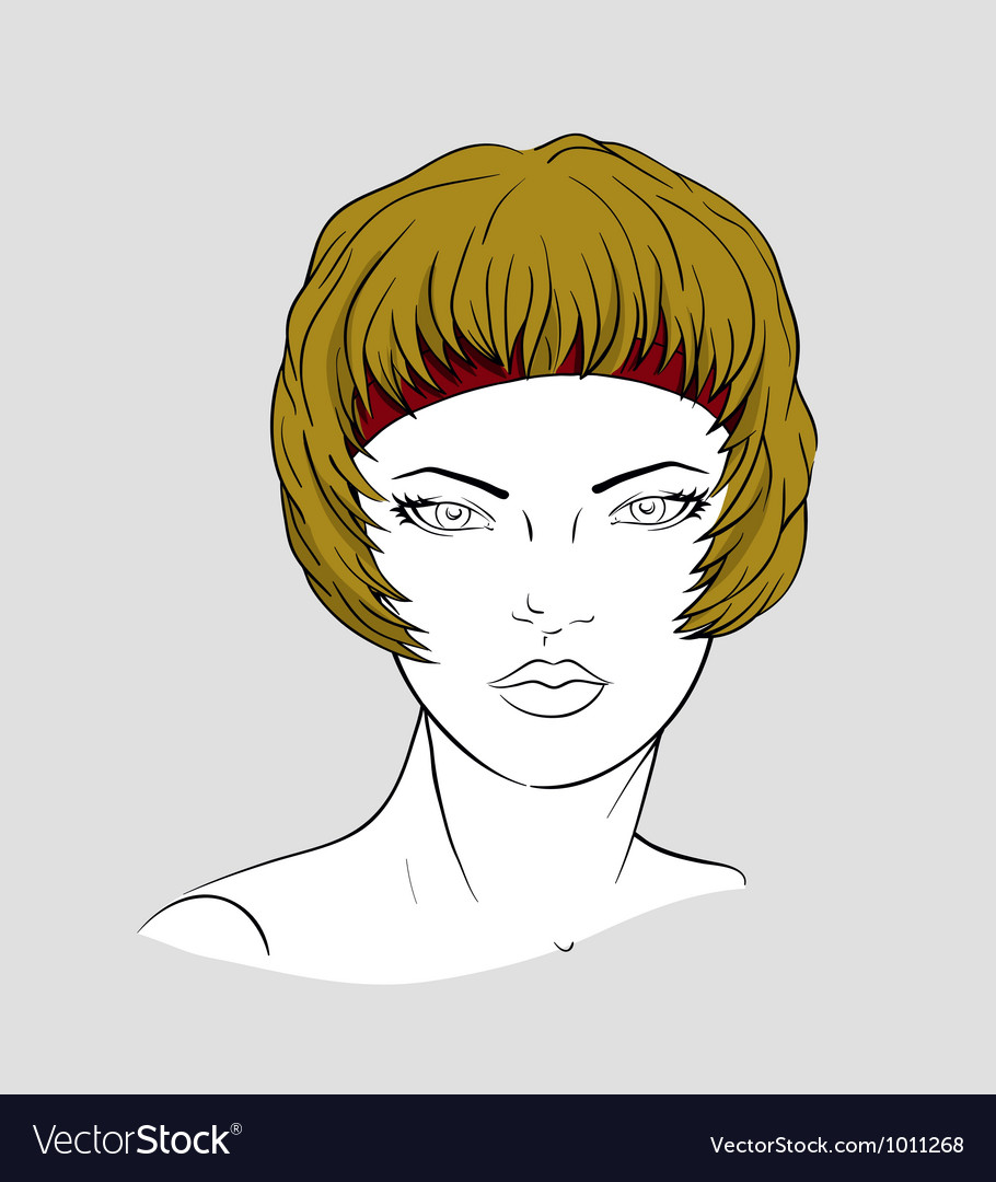 Face of woman with an elastic band for hair-dressi vector | Price: 3 Credit (USD $3)