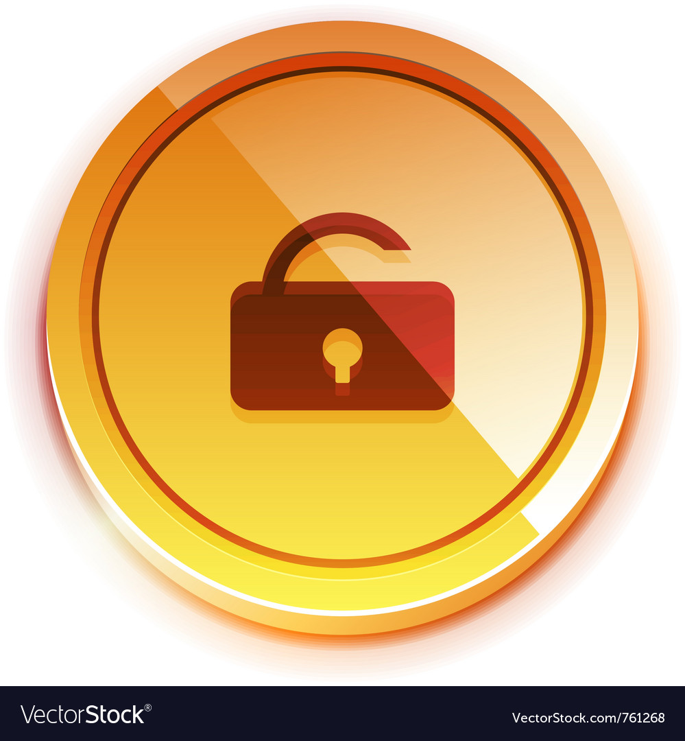 Glossy bright unlock button vector | Price: 1 Credit (USD $1)
