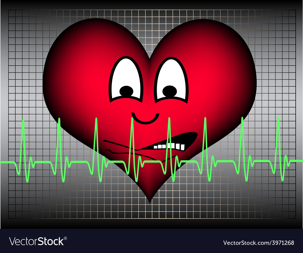 Heart afraid with green cardio line vector | Price: 1 Credit (USD $1)