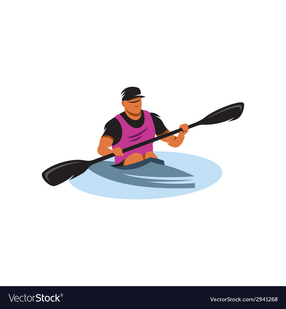 Man in canoe sign vector