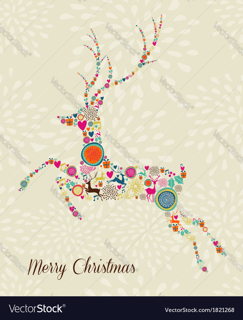 Merry vintage christmas elements jumping reindeer vector | Price: 1 Credit (USD $1)