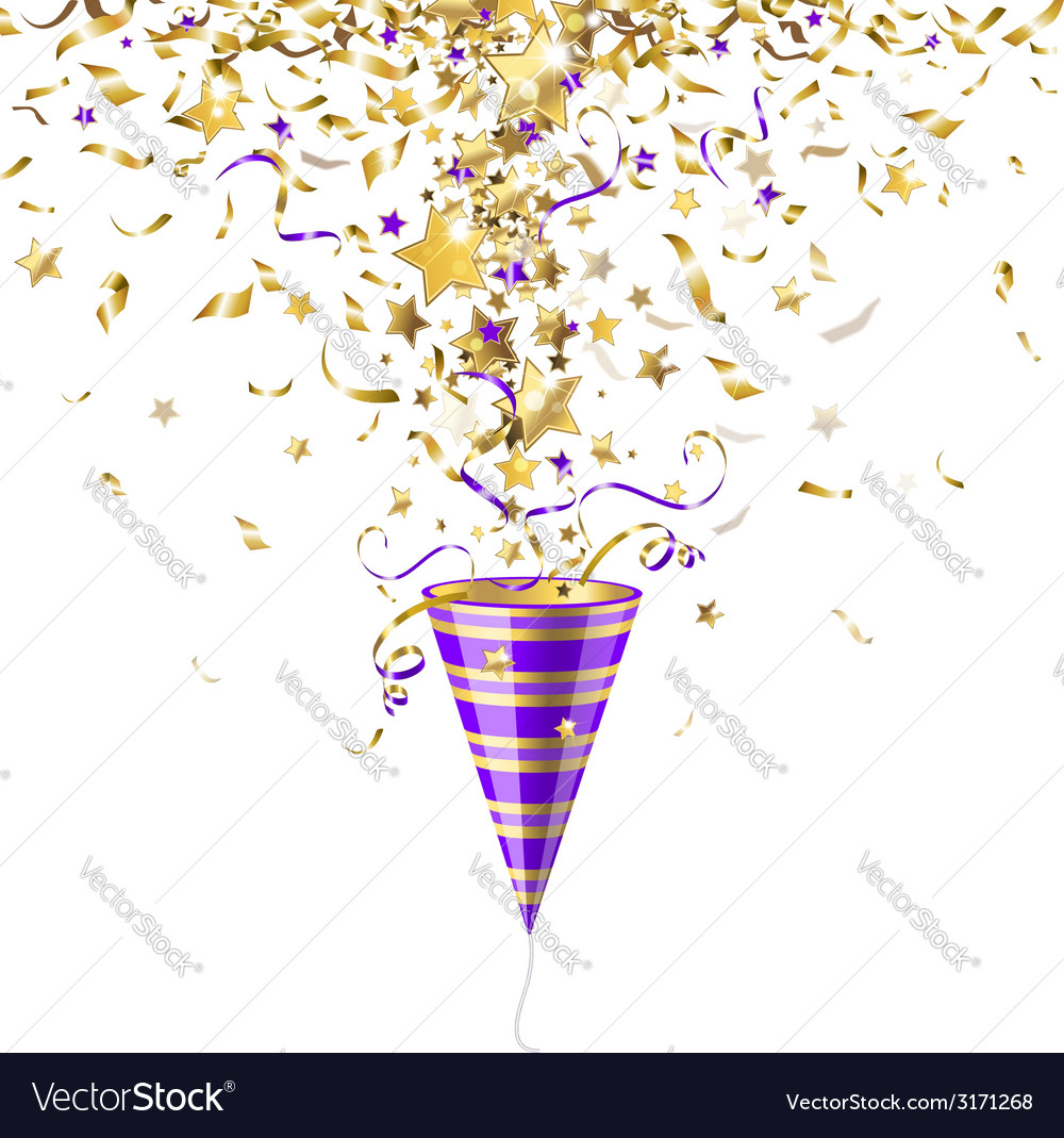 Party popper with confetti vector | Price: 1 Credit (USD $1)