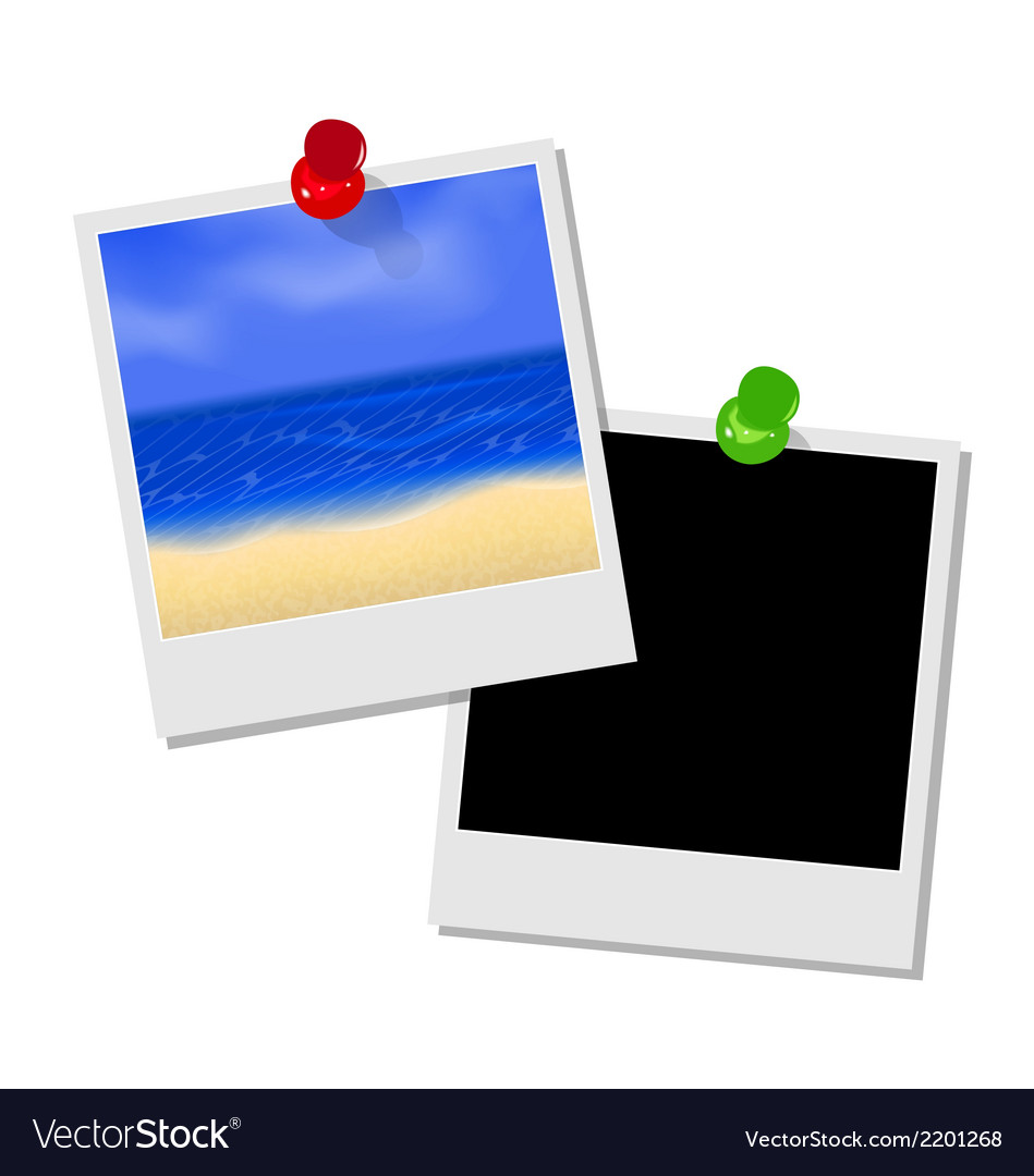 Photo frame with beach and empty photo frame vector | Price: 1 Credit (USD $1)