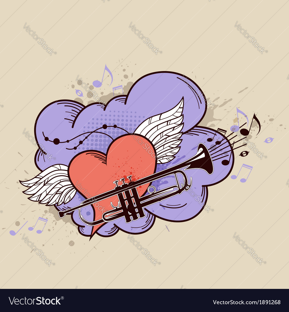 Red heart and trumpet vector | Price: 1 Credit (USD $1)