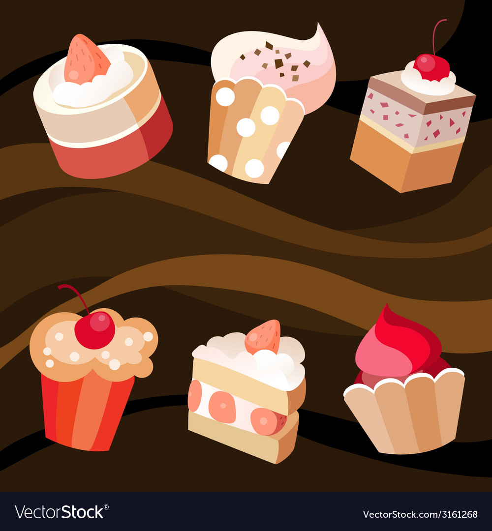 Six cakes set vector | Price: 1 Credit (USD $1)
