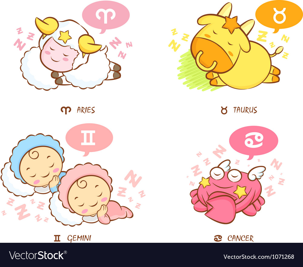 Sleeping aries and taurus dream of twins and crab vector | Price: 1 Credit (USD $1)