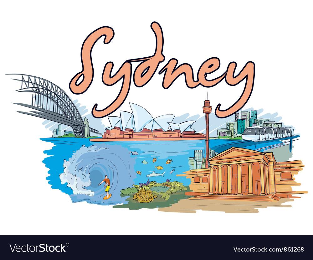 Sydney doodles vector | Price: 1 Credit (USD $1)