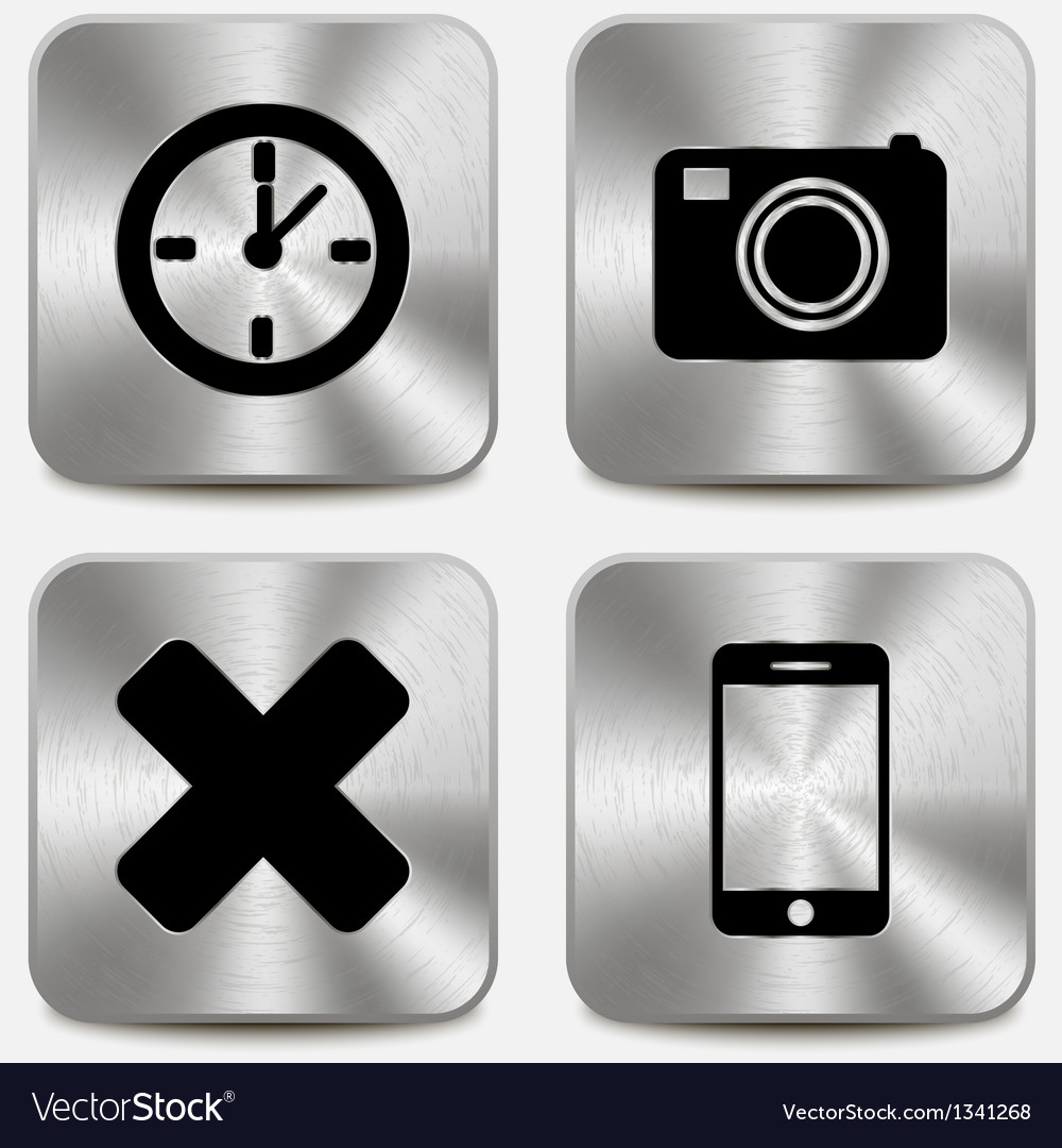 Web icons on metallic buttons set vol 7 vector | Price: 1 Credit (USD $1)