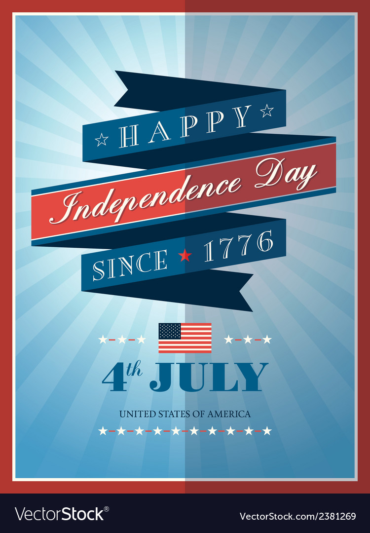 4th of july independence day ribbon background vector | Price: 1 Credit (USD $1)