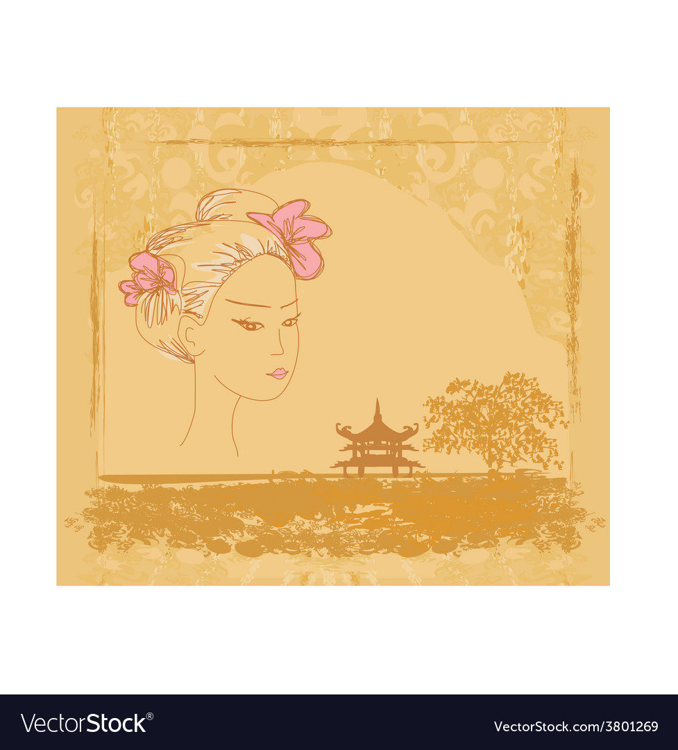 Abstract asian landscape and beautiful asian girl vector | Price: 1 Credit (USD $1)