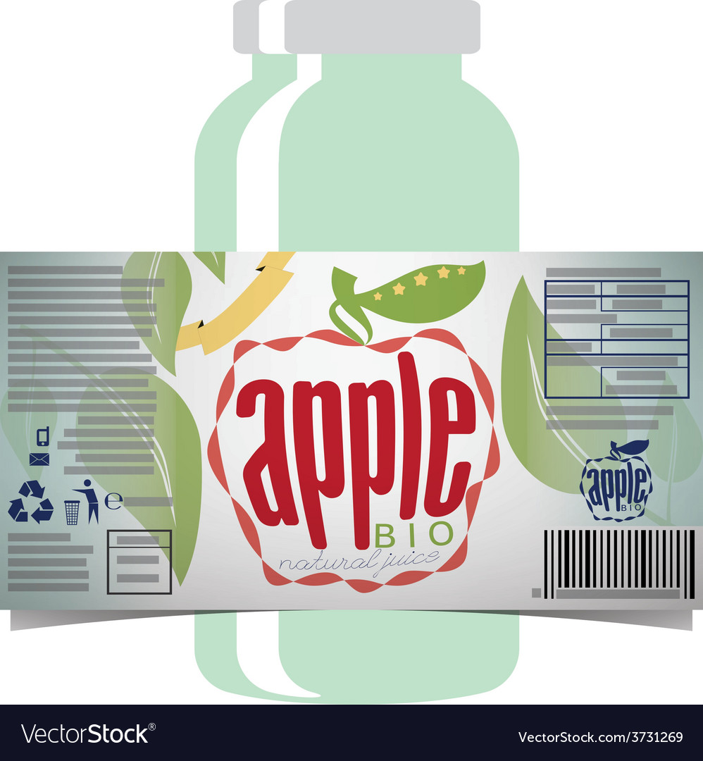 Apple juice product label vector | Price: 1 Credit (USD $1)
