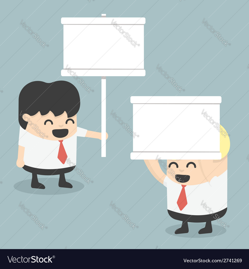 Businessman holding a white sign vector | Price: 1 Credit (USD $1)