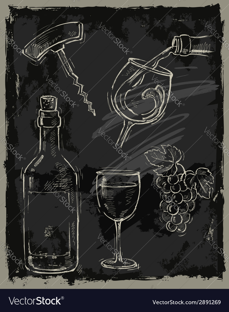 Chalk wine vector | Price: 1 Credit (USD $1)