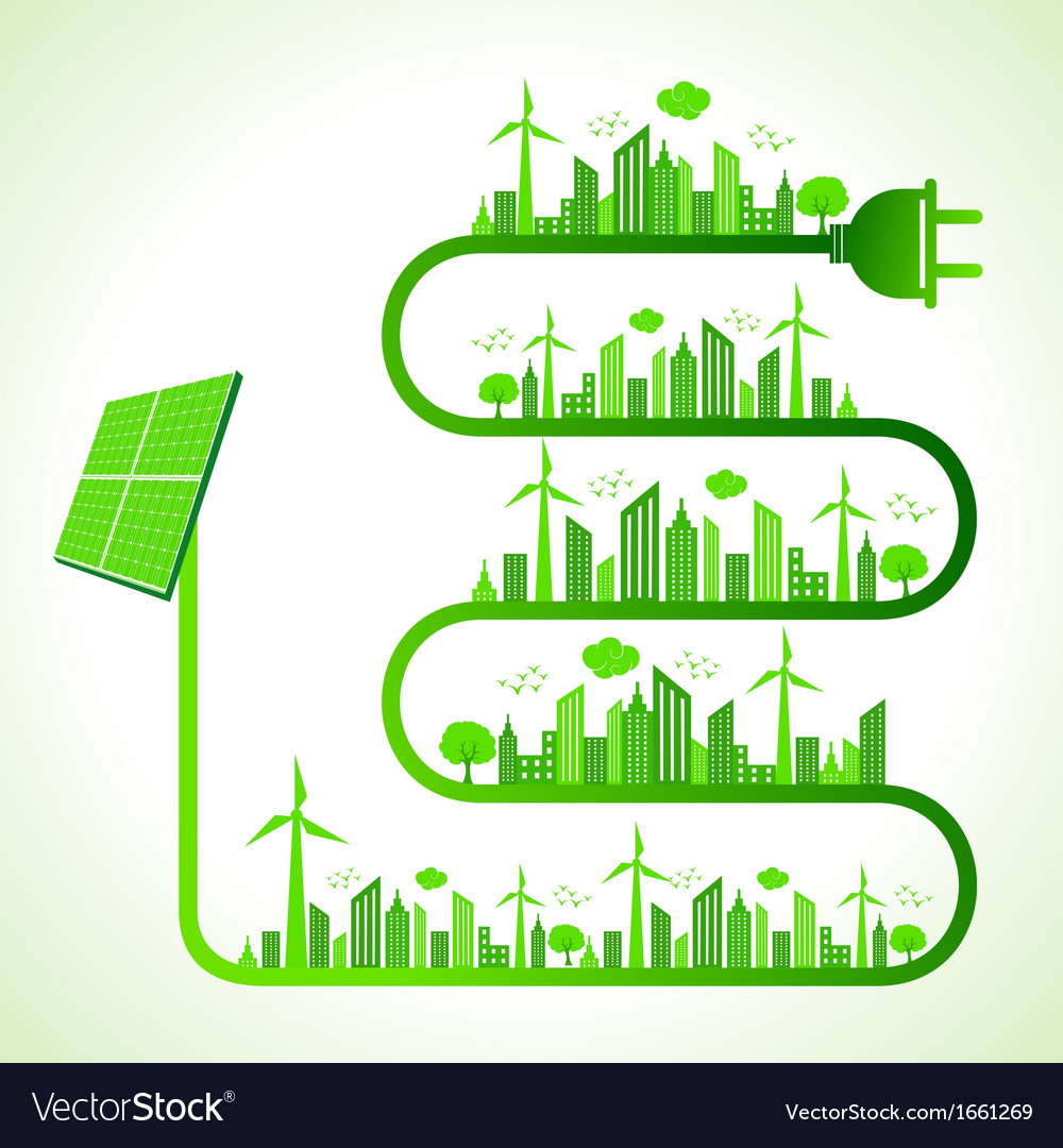 Ecology concept with solar panel vector | Price: 1 Credit (USD $1)