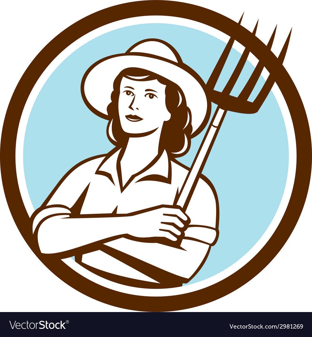 Female organic farmer pitchfork circle retro vector   Price: 1 Credit (USD $1)