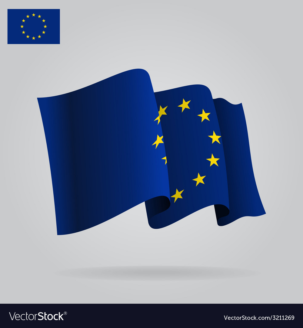 Flat and waving european union flag vector | Price: 1 Credit (USD $1)