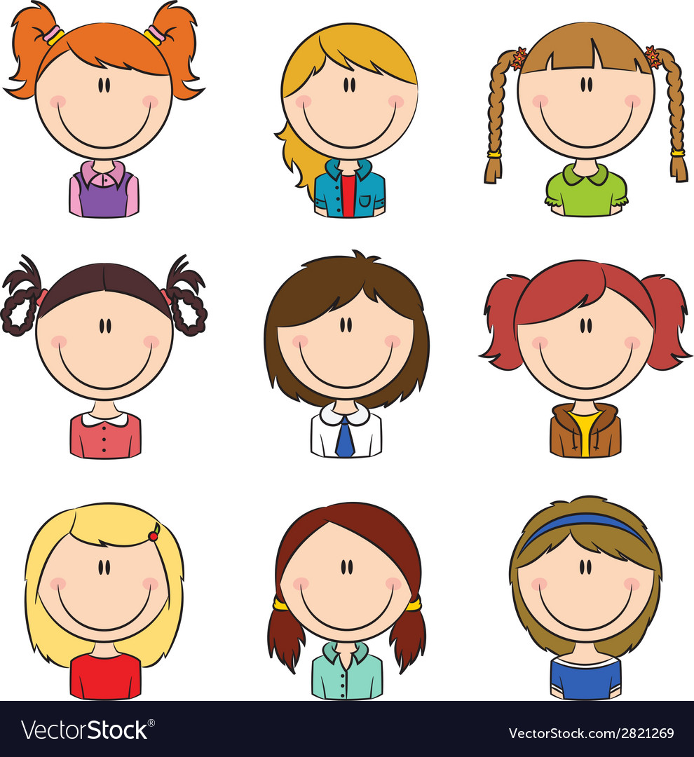 Girls avatar vector | Price: 1 Credit (USD $1)