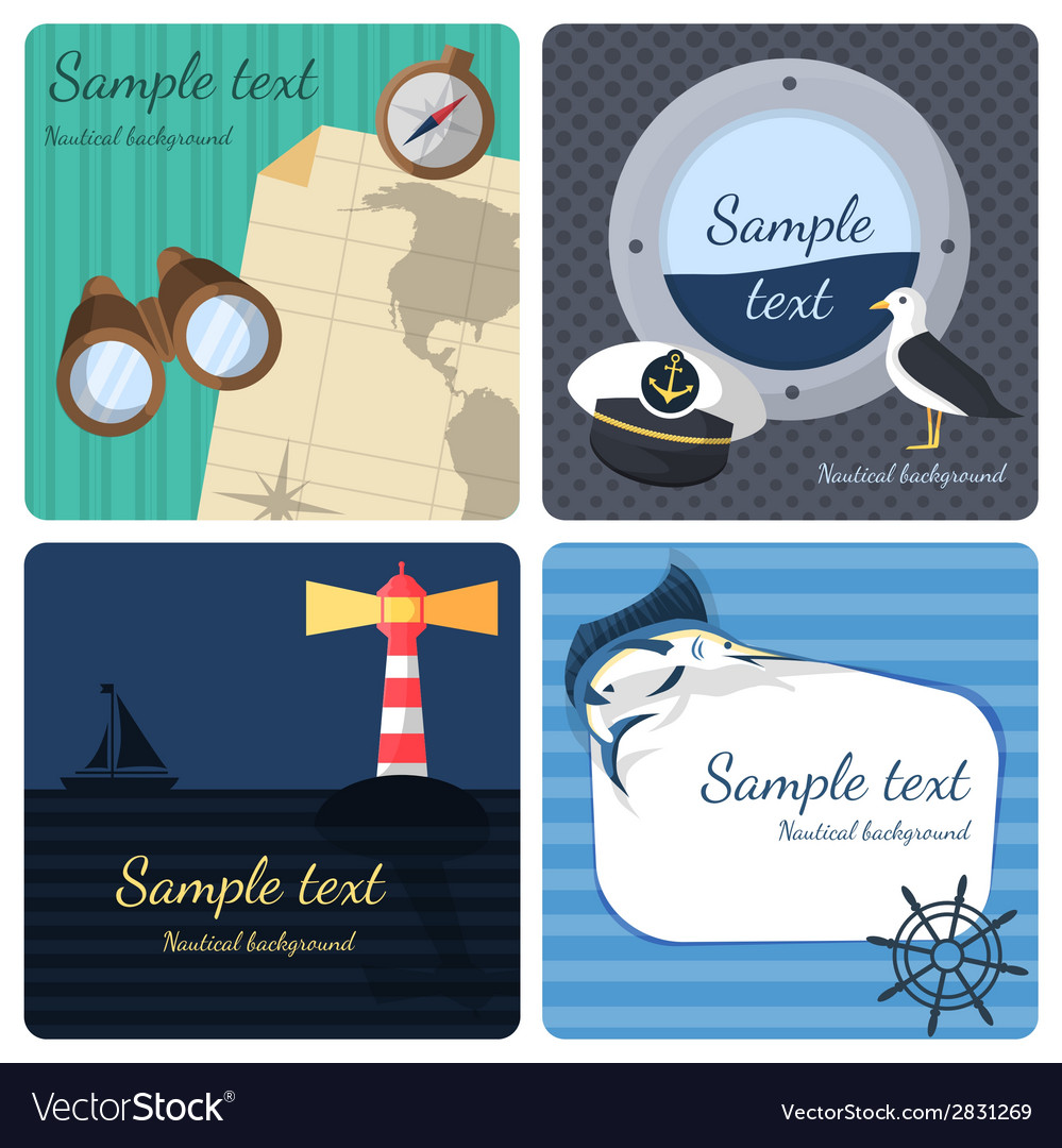 Nautical mini posters set vector | Price: 1 Credit (USD $1)