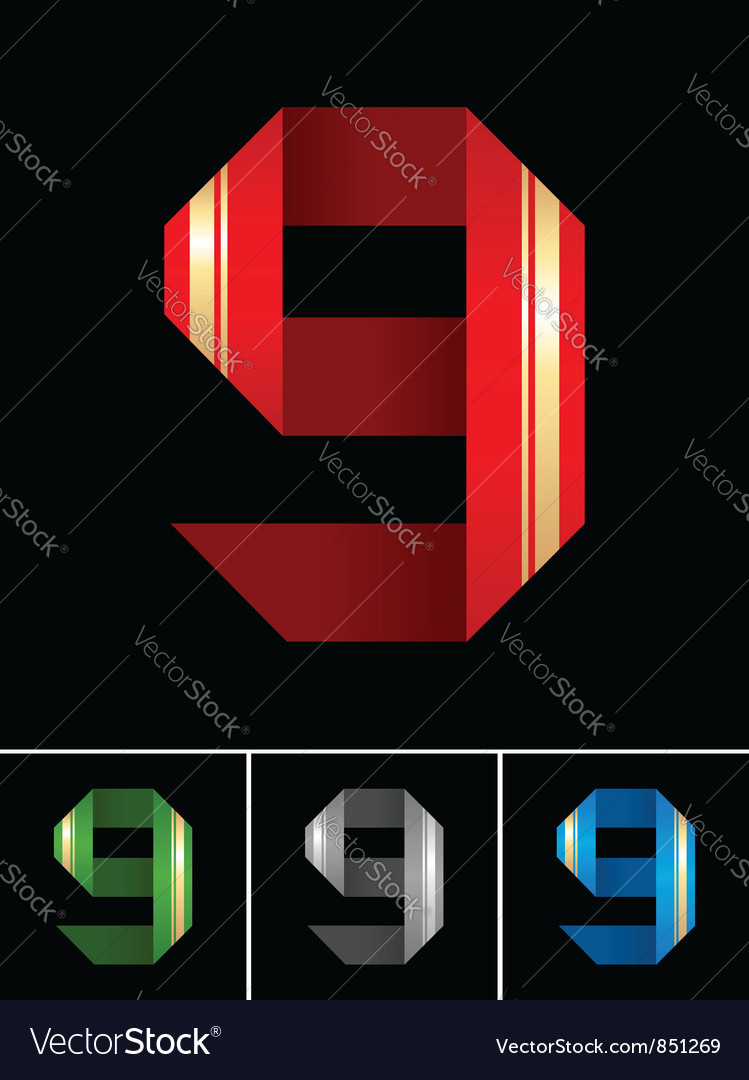 Numeral of paper tape - 9 vector | Price: 1 Credit (USD $1)