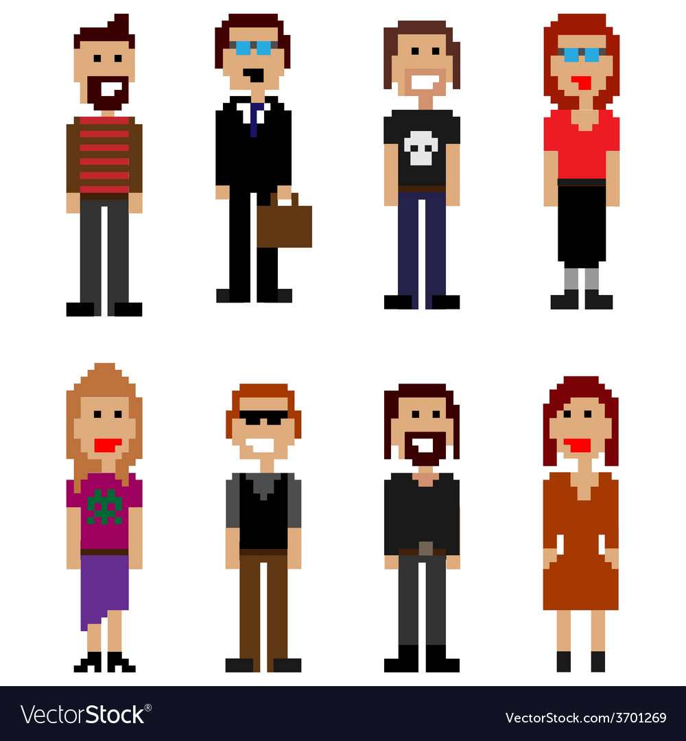 Pixel style people vector | Price: 1 Credit (USD $1)