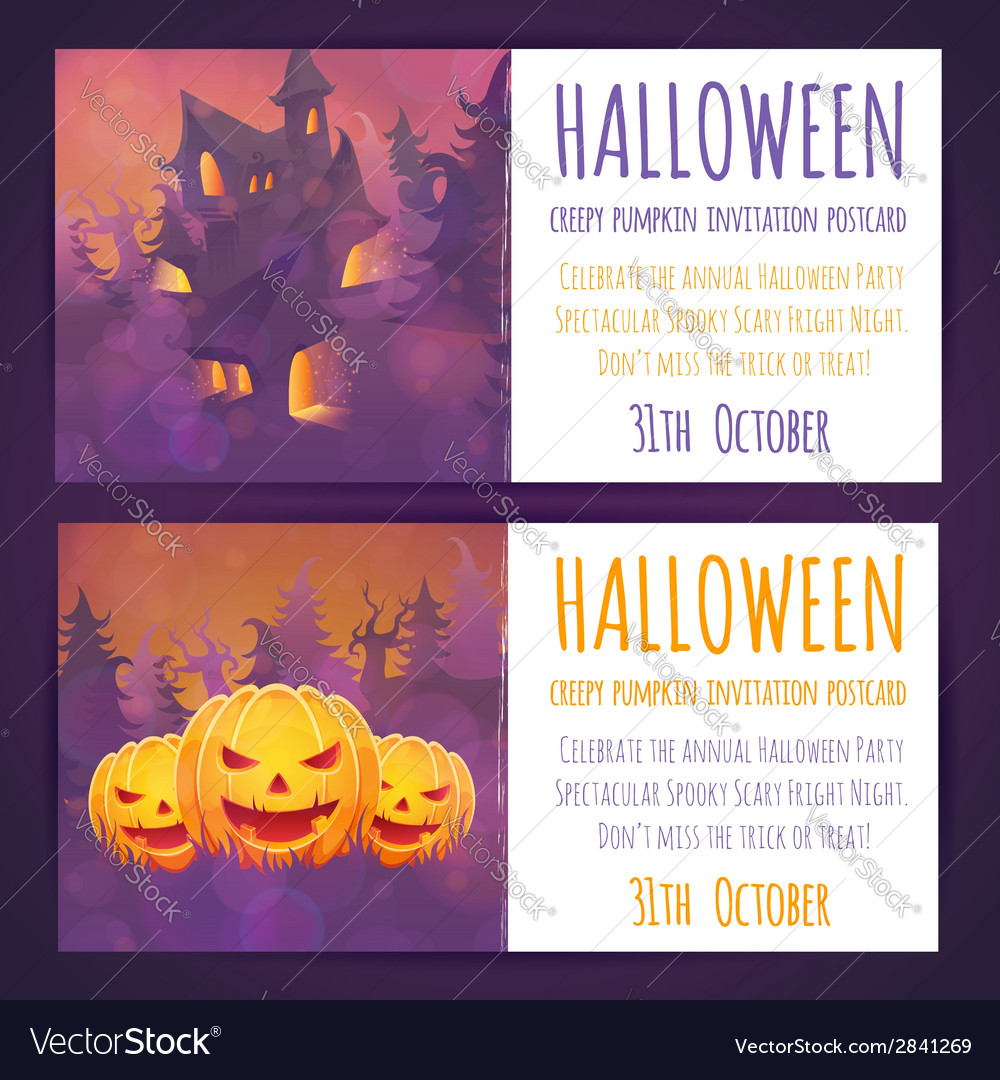 Set of halloween banners with spooky haunted house vector | Price: 3 Credit (USD $3)