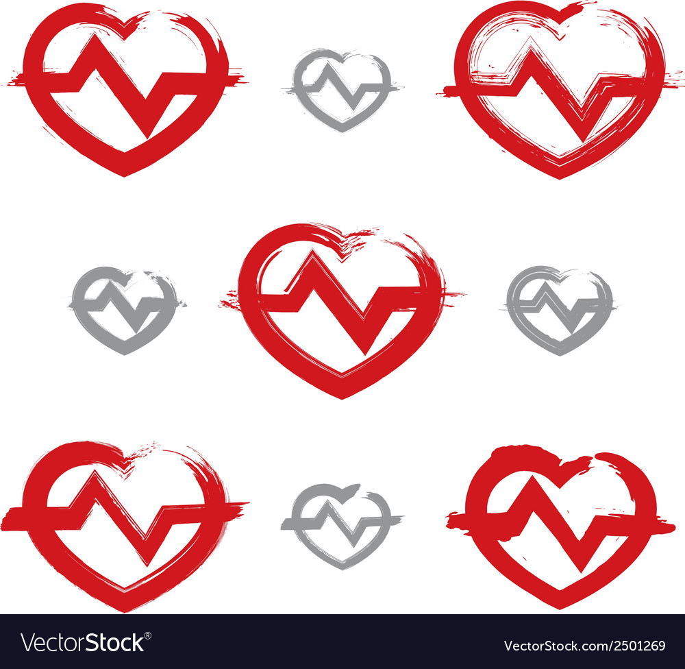 Set of hand-drawn red heart icons collection of vector | Price: 1 Credit (USD $1)