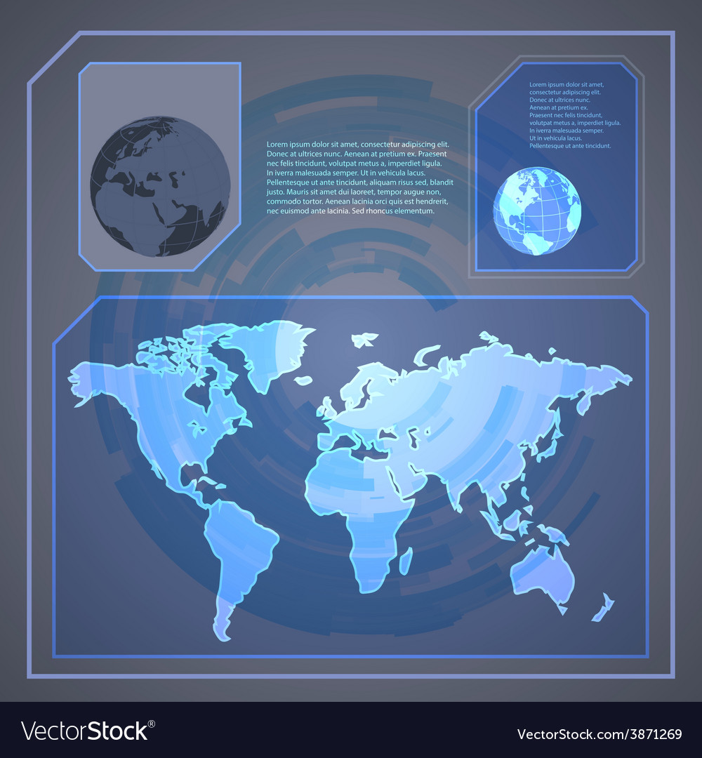 Technology holographic background with world map vector | Price: 1 Credit (USD $1)