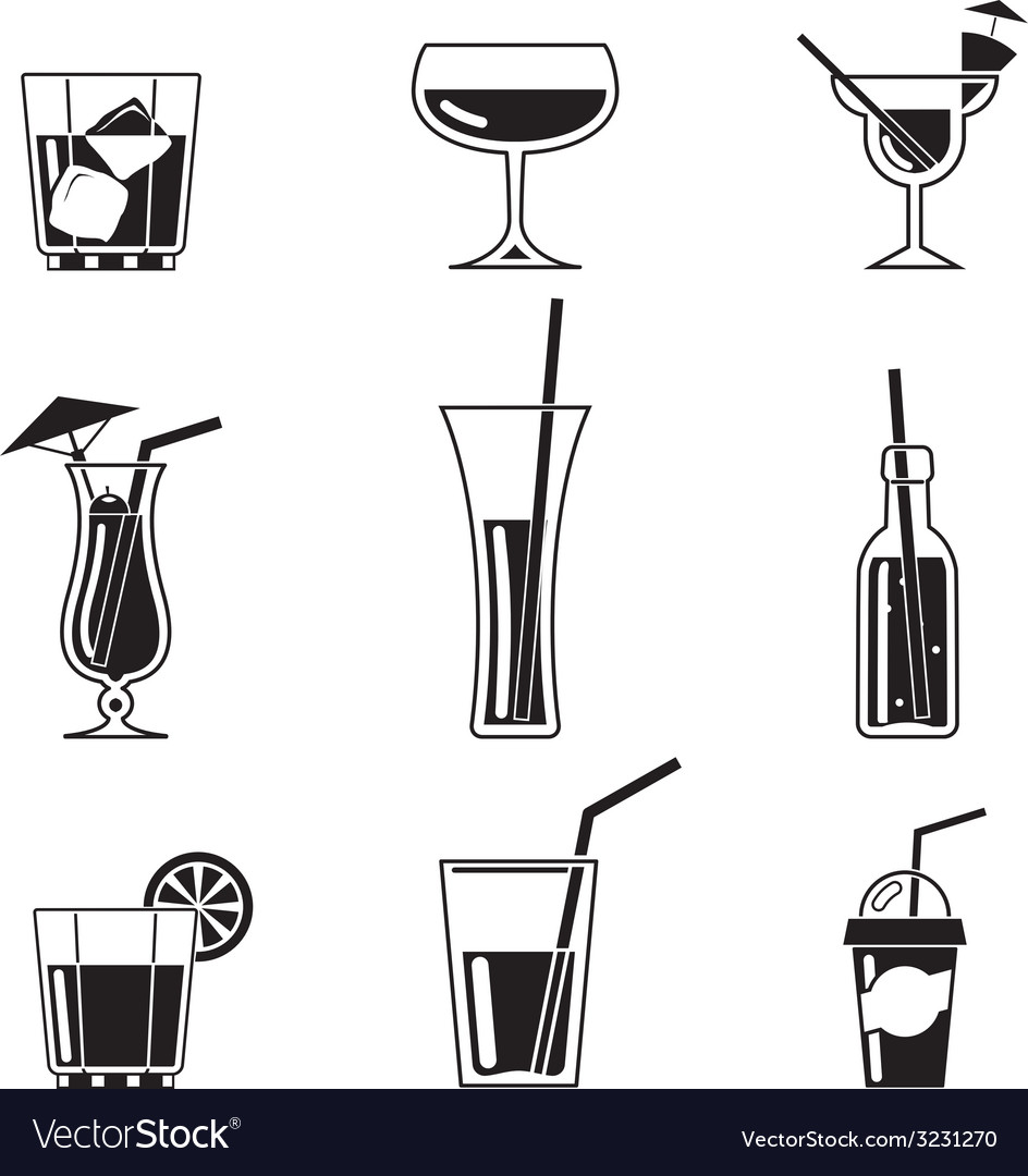 Assortment of black cocktail icons vector | Price: 1 Credit (USD $1)