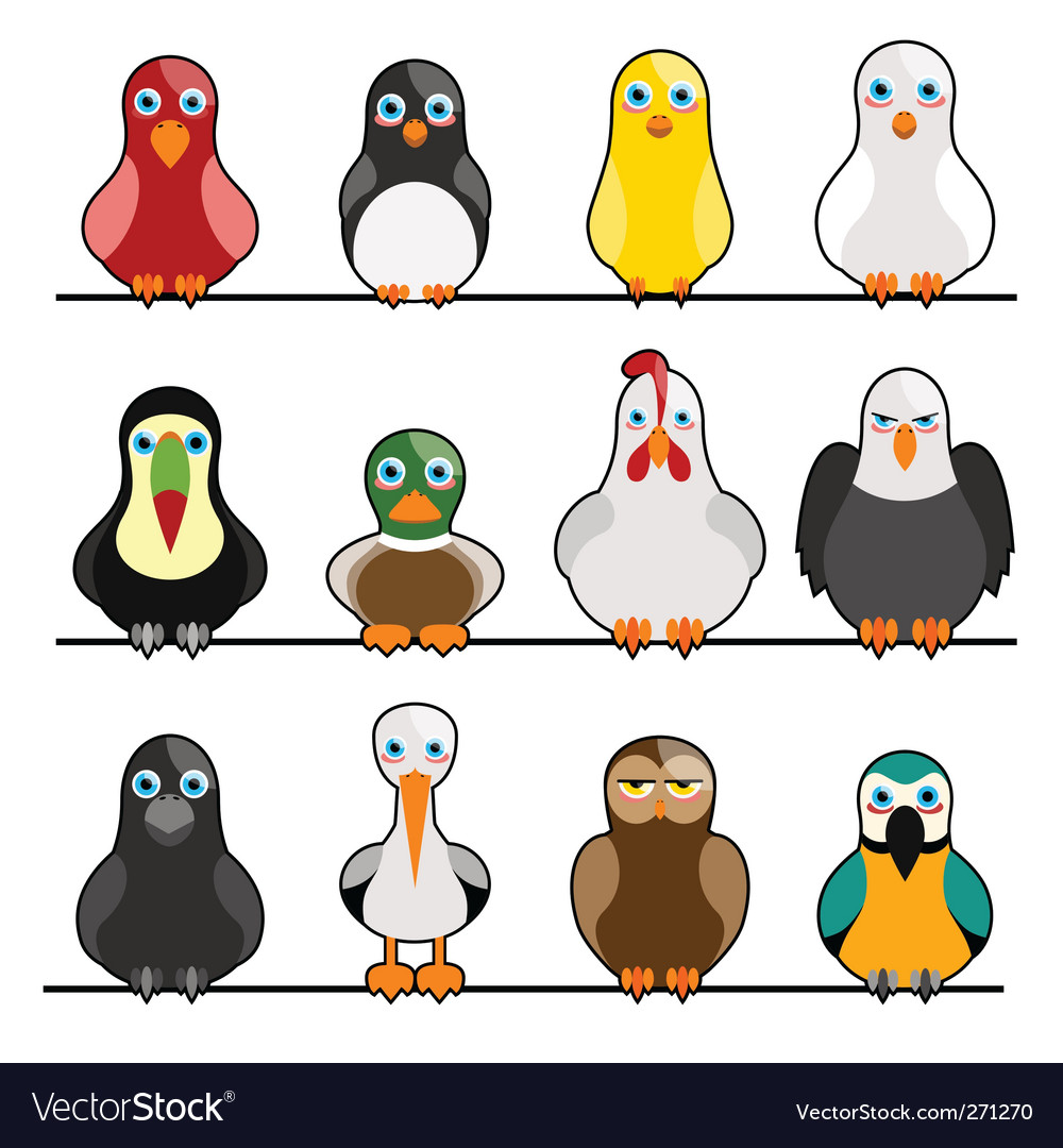 Cartoon birds vector | Price: 1 Credit (USD $1)