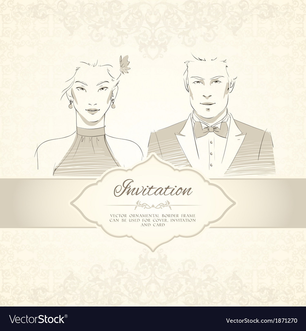 Classical wedding invitation card vector | Price: 1 Credit (USD $1)