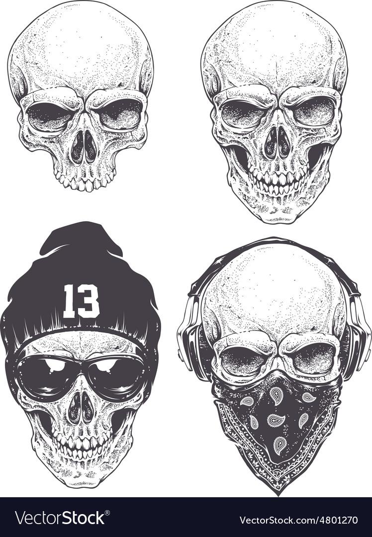 Dotwork skulls set vector