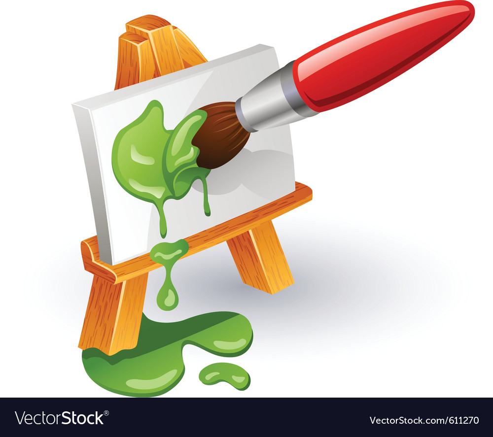 Easel and paintbrush vector | Price: 1 Credit (USD $1)