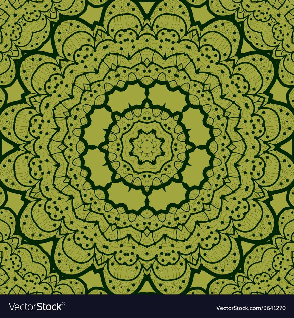 Green seamless mandala vinatge element tribal art vector | Price: 1 Credit (USD $1)