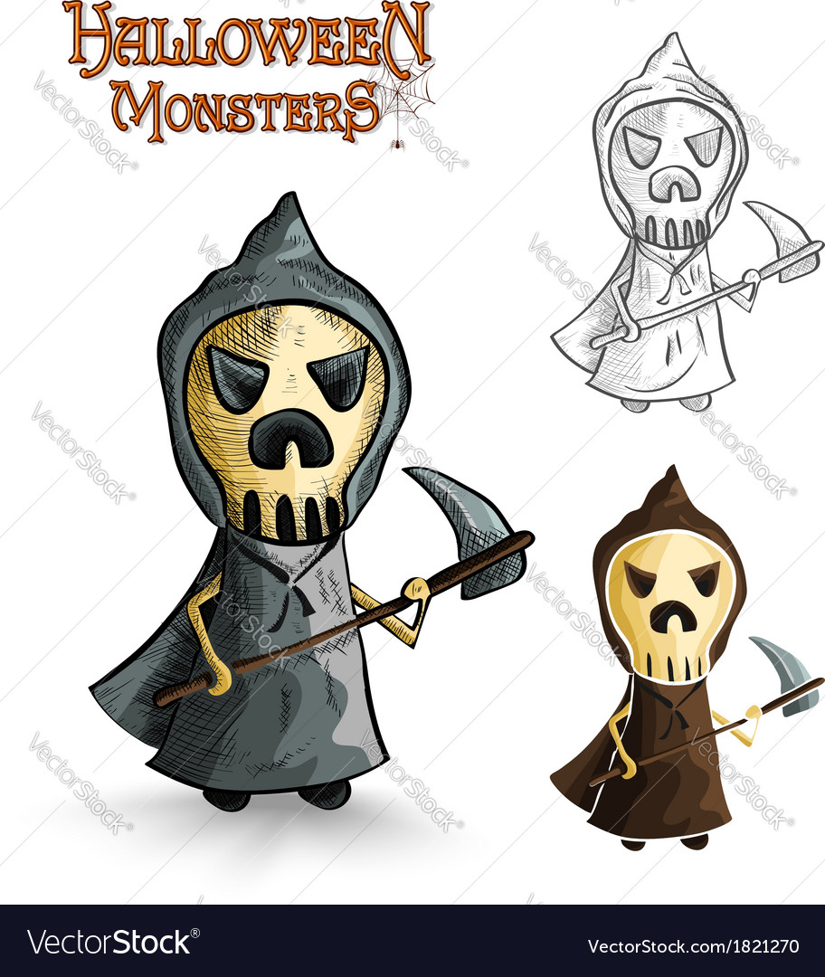 Halloween monsters scary cartoon grim reaper eps10 vector | Price: 1 Credit (USD $1)