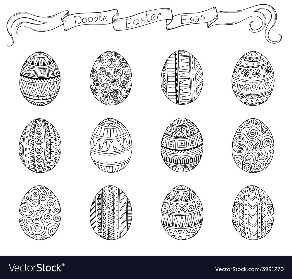 Ink hand-drawn doodle easter set with eggs vector | Price: 1 Credit (USD $1)