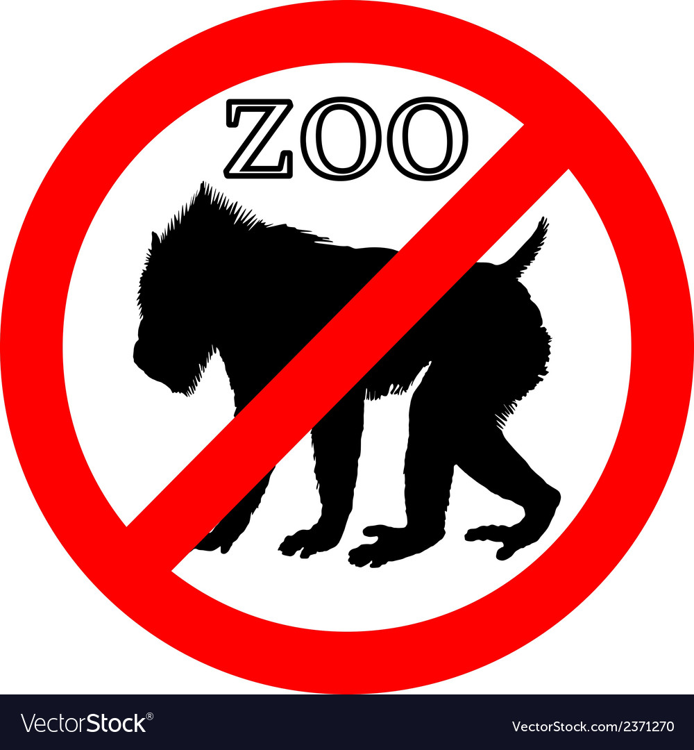 Mandrill in zoo prohibited vector | Price: 1 Credit (USD $1)