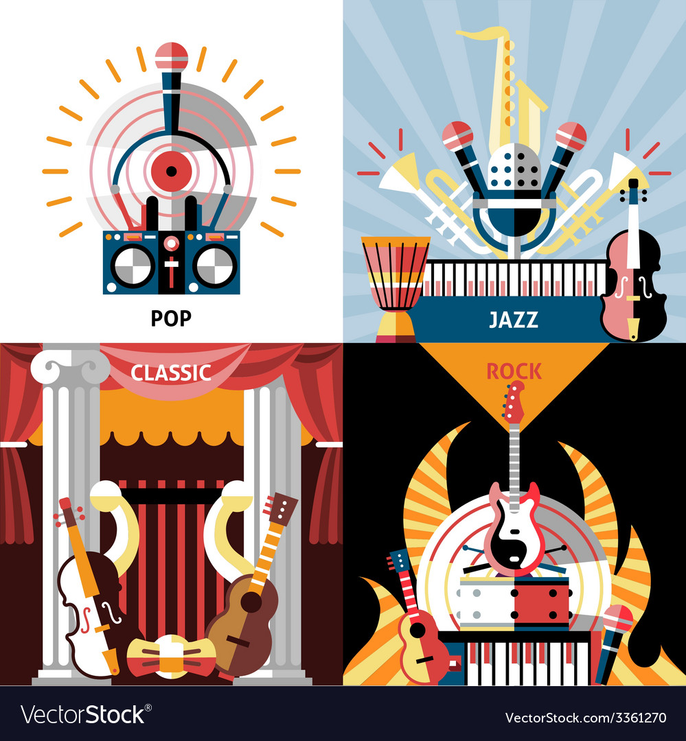 Musical instruments flat set vector | Price: 1 Credit (USD $1)