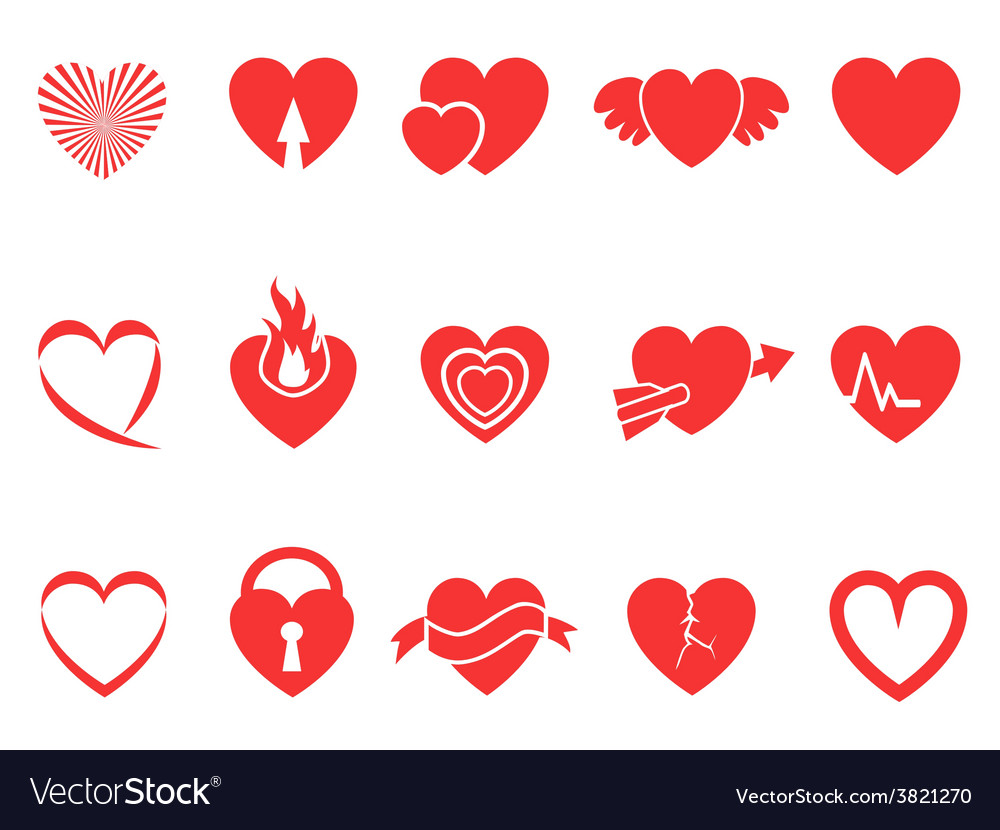 Red heart icons vector | Price: 1 Credit (USD $1)