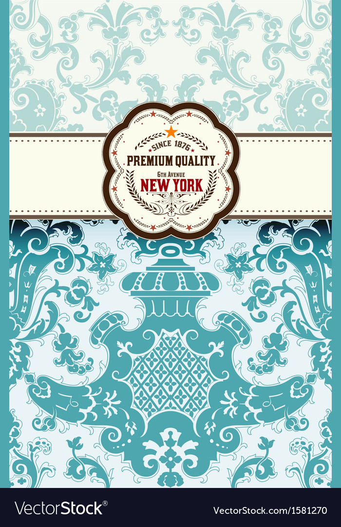 Retro card baroque background with central logo vector | Price: 1 Credit (USD $1)