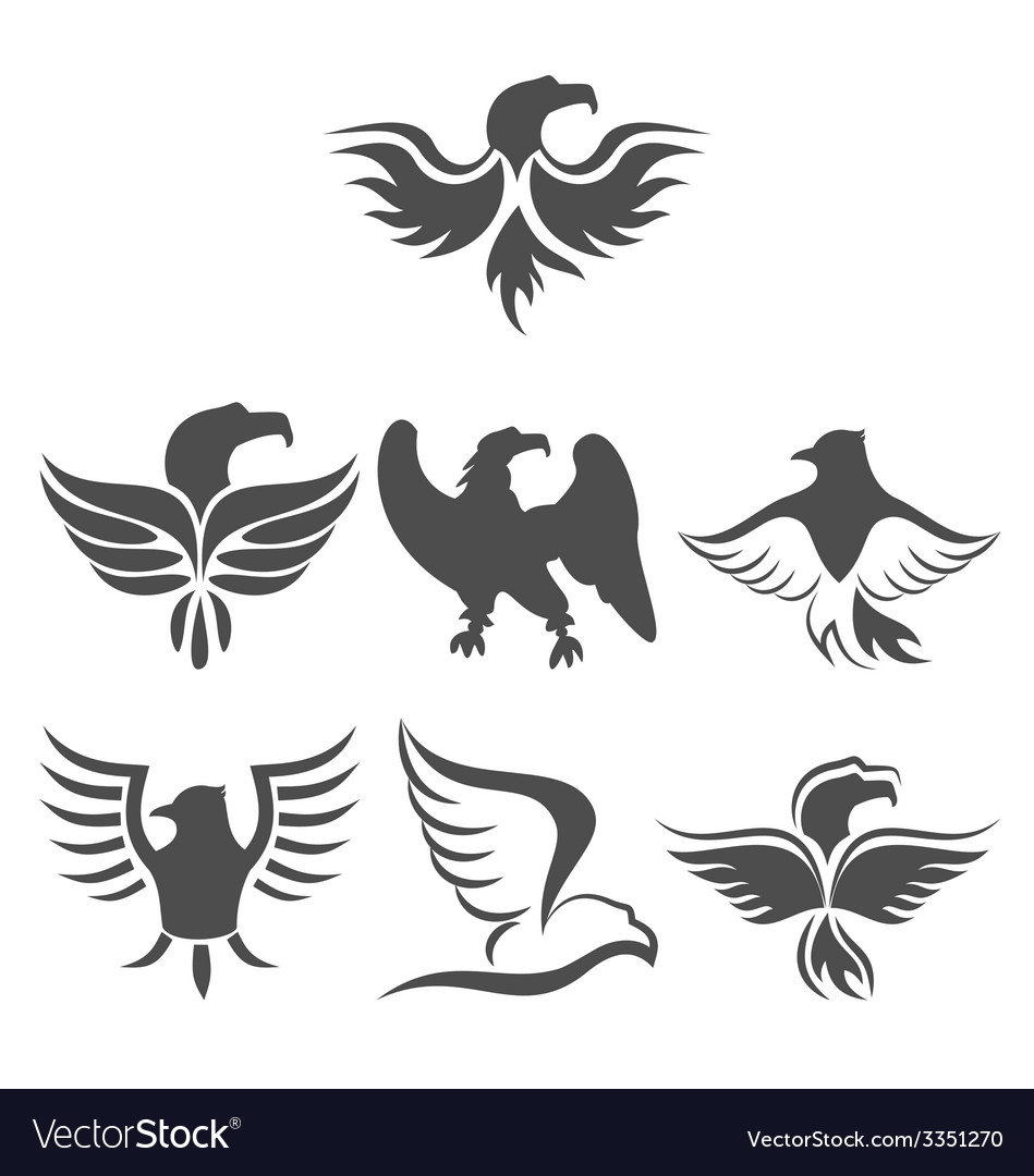 Set icon of eagles symbol isolated on white vector | Price: 1 Credit (USD $1)