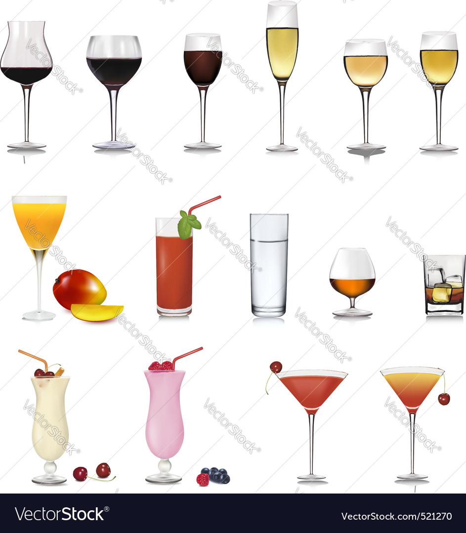 Set of different drinks vector | Price: 1 Credit (USD $1)