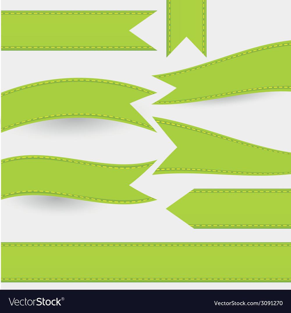 Set of green ribbons vector | Price: 1 Credit (USD $1)