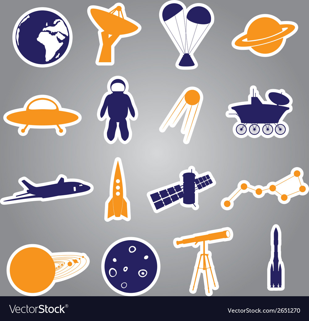Space stickers set eps10 vector | Price: 1 Credit (USD $1)