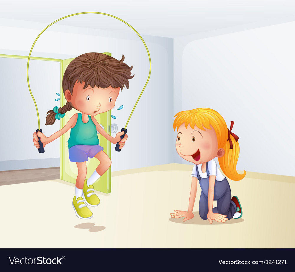A girl playing jumping rope inside the room vector | Price: 1 Credit (USD $1)