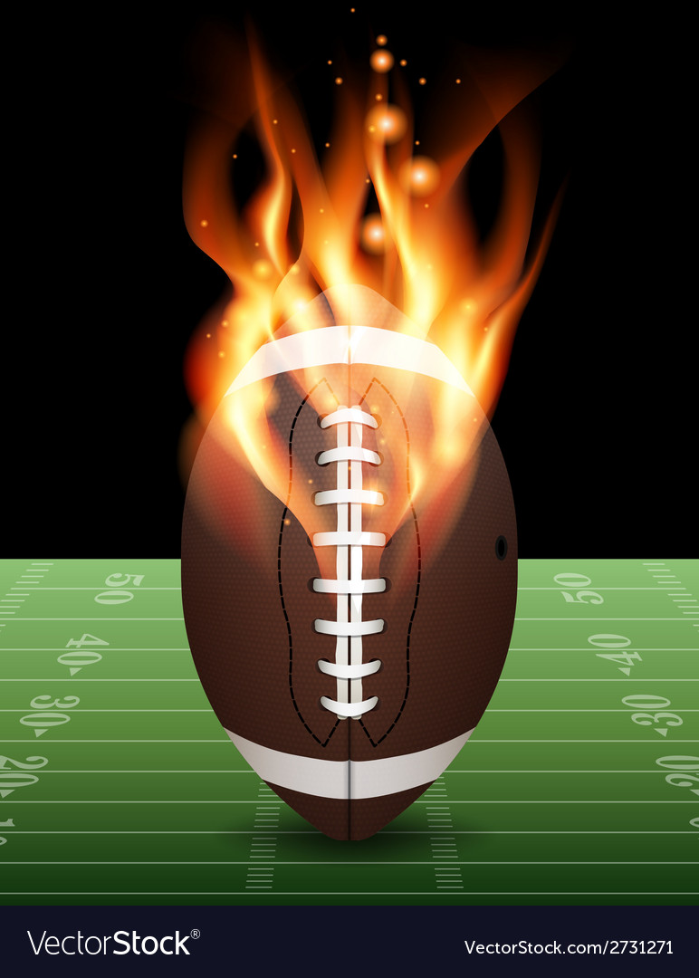 American football field on fire vector | Price: 1 Credit (USD $1)