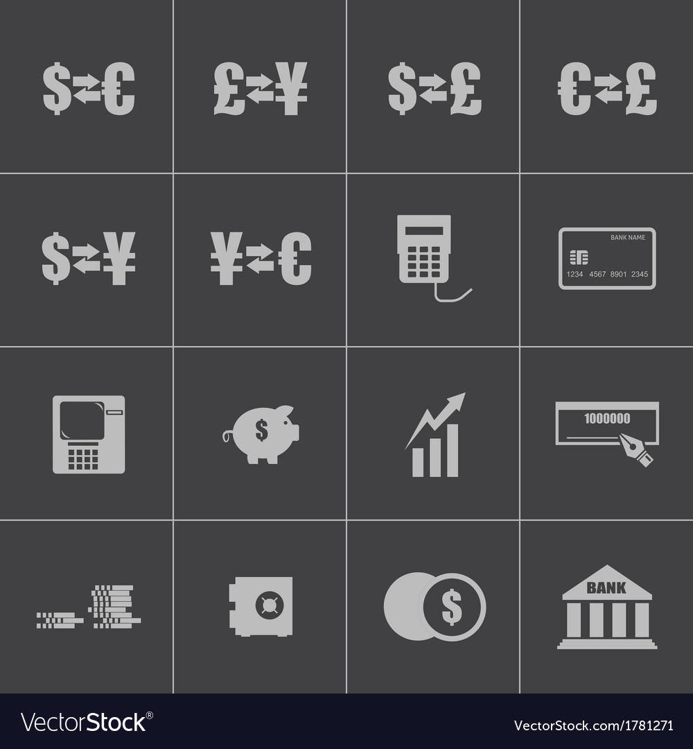 Black bank icons set vector | Price: 1 Credit (USD $1)
